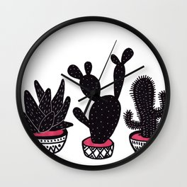 cactus row Wall Clock