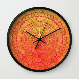 Aztec Flower Mandala Wall Clock