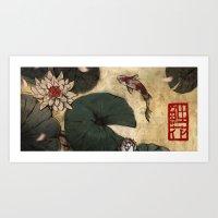 lotus Art Prints featuring Lotus by Corinne Reid