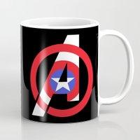 avenger Mugs featuring Captain Avenger by foreverwars
