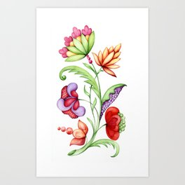 Elegant fantasy plant with different flowers isolated on white background Art Print