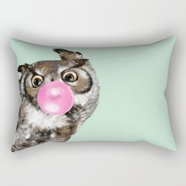 Sneaky Owl Blowing Bubble Gum Rectangular Pillow