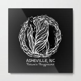 Asheville - Nature's Playground - AVL 5 White on Metal Print