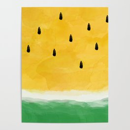 Yellow Watermelon Abstract Poster