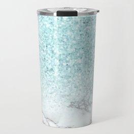 Pretty Turquoise Marble Sparkle Travel Mug