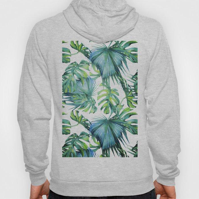 Blue Jungle Leaves, Monstera, Palm #society6 Hoody