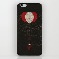 pennywise iPhone & iPod Skins featuring Pennywise the Clown - Stephen King's IT Inspired vintage movie poster by Dan Howard