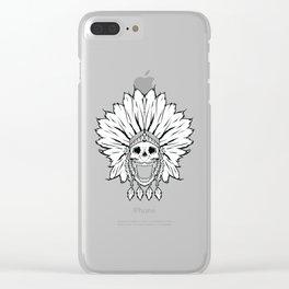 Shaman skull black & white Clear iPhone Case