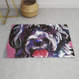 PWD Portuguese Water Dog Fun bright colorful Pop Art Dog Painting by Lea Rug
