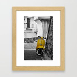 Yellow Vespa in Old Town Cannes Black and White Photography Framed Art Print