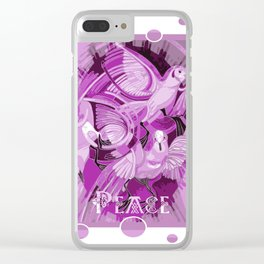 Dove With Celtic Peace Text In Pink Purple Tones Clear iPhone Case
