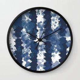 Indigo Blue Tie Dye Stripes II Wall Clock