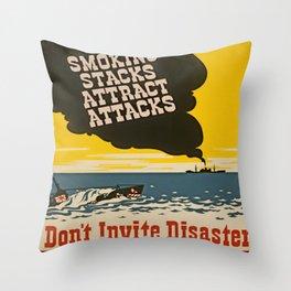 Vintage Naval Poster Throw Pillow