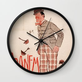 Vintage poster french show Dranem Wall Clock