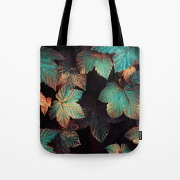 Copper And Teal Leaves Tote Bag