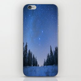 Blue Night Stars Wintry Forest iPhone Skin
