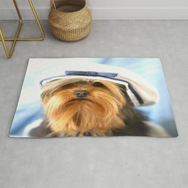 Little Sailor Yorkshireterrier With Sailor Hat  Rug