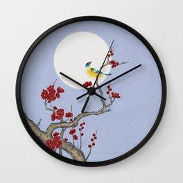 Plum blossoms, bird, and the moon Type F (Minhwa: Korean traditional/folk art) Wall Clock
