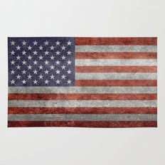 America flag with vintage retro textures Rug