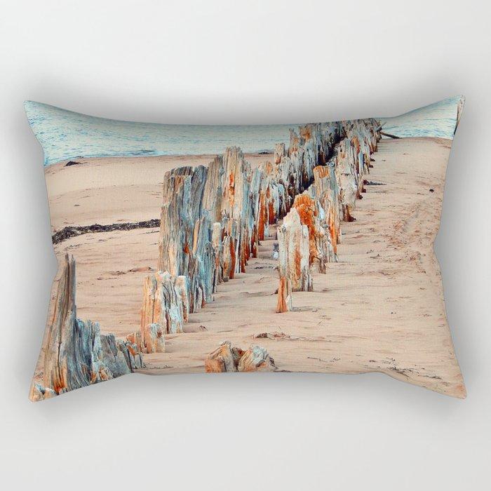 Wharf Remains on the Beach Rectangular Pillow
