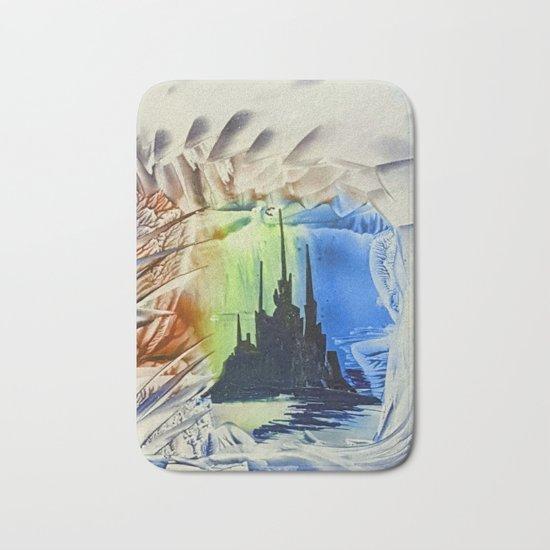 Blue alien cityscape Bath Mat