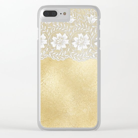 Bridal lace - White floral elegant lace on gold metal backround Clear iPhone Case