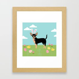 Chihuahua dog breed easter bunny dog costume pet portrait spring chihuahuas black and tan Framed Art Print
