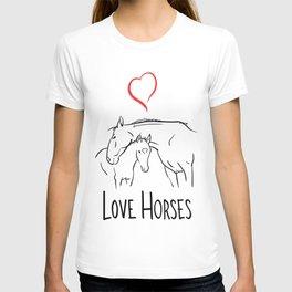 Love horses-Line art-Animal T-shirt