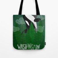 washington Tote Bags featuring Washington by Santiago Uceda