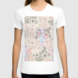 Modern vintage black rose gold watercolor floral T-shirt
