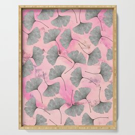 botanical biloba drawing pattern on pink watercolor marble Serving Tray