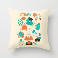 turtles Throw Pillows featuring Turtles by Jay Fleck
