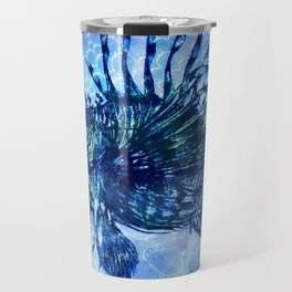 Lion Fish Abstract in Blue Bubbly Ocean Travel Mug