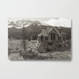 Mountain Town Church Metal Print