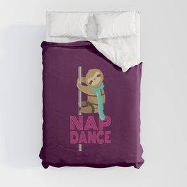 Funny Nap Dance Neon Sign Cute Sloth Pole Dancer Duvet Cover