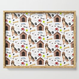 Bloodhound Dog Half Drop Repeat Pattern Serving Tray