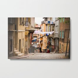 "Travel Photography ""street in inner city Istanbul, Turkey with laundry and colorful houses, in orange and pastel colors. Fine art photo print.  Metal Print"