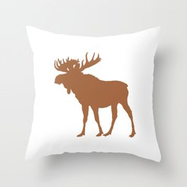 Moose: Brown Throw Pillow