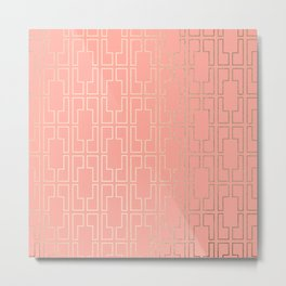 Simply Mid-Century in White Gold Sands on Salmon Pink Metal Print