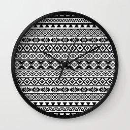 Aztec Stylized Pattern Black & White I Wall Clock