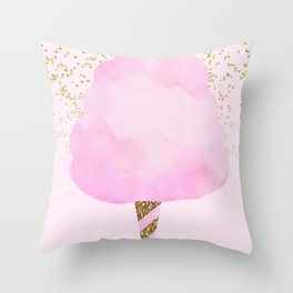 Pink & Gold Glitter Cotton Candy Throw Pillow