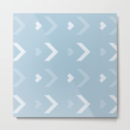 Chevron Blue Pattern Metal Print