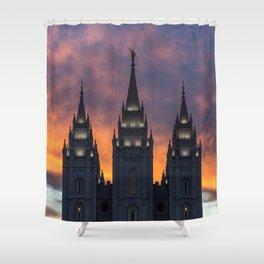 LDS Salt Lake Temple Square Sunset Shower Curtain