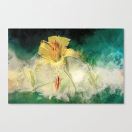 Yellow, Dew-Kissed Daylily Canvas Print