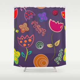 Motif de fleurs 5 Shower Curtain