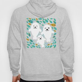 White cute fur seal and fish in water Hoody