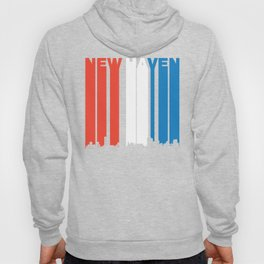 Red White And Blue New Haven Connecticut Skyline Hoody