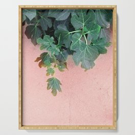 Pink Green Leaves Serving Tray