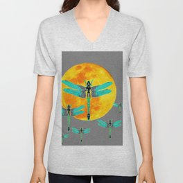 GREEN DRAGONFLIES FLYING TO MOON Unisex V-Neck