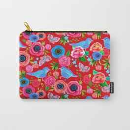 Red floral print with bluebirds & butterflies Carry-All Pouch